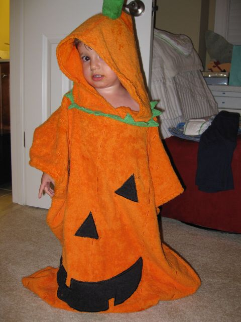 He LOVES his pumpkin towell!  Thanks Jessica!
